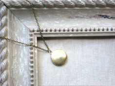 Big Brass Locket Necklace on Antique Gold Chain, Simple, Modern, Pendant, Charm, Everyday Jewelry, Layering, handmade. $10.00, via Etsy.