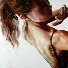 """Spinward Marches"" - Simon Birch, 2006, oil on canvas {figurative art brunette female woman action expressionist painting} Defensive !!"