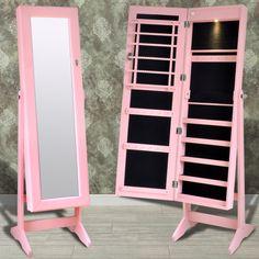 Rózsaszín Szabadon Álló Ékszer Szekrény LED Lámpával & Álló tükör Ajtó