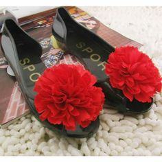 Jelly Black Red Rosette Flat Open Toe Evening Prom Ball Sandals Shoes SKU-1091034