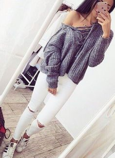 I never wear white pants because I'm clumsy and would probably spill something on them, but this is a cute outfit.  :)