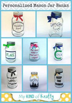 Personalized mason jar coin banks and vinyl decals. Mason Jar Bank, Mason Jar Gifts, Mason Jar Diy, Vinyl Crafts, Jar Crafts, Bottles And Jars, Glass Jars, Craft Gifts, Diy Gifts