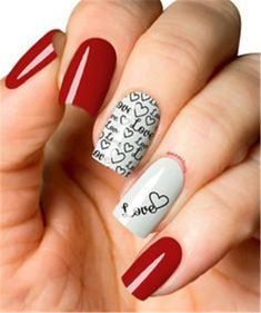 """If you're unfamiliar with nail trends and you hear the words """"coffin nails,"""" what comes to mind? It's not nails with coffins drawn on them. It's long nails with a square tip, and the look has. Red Nail Polish, Red Nails, Love Nails, Pretty Nails, Nailed It, Valentine Nail Art, Nails 2018, Square Acrylic Nails, Heart Nails"""