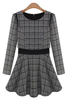 Plaid Long Sleeve A-line Dress