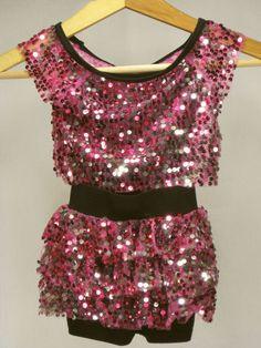 Girls Dance Costume XS Weissman Competition Tap Jazz Pink Black Biketard Sequins