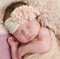 Pink Baby Headband White Baby headbandsNewborn by ThinkPinkBows Christening Headband, Baby Girl Christening, Chiffon Flowers, Fabric Flowers, White Headband, Headband Flowers, Baby Dedication Invitation, Baby Hair Bands, Baby Dress Patterns