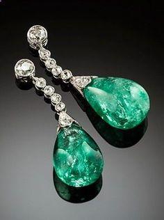 Art Deco emerald and diamond earrings Art Deco ear pendants, old cut diamonds, emerald drops (estimated weight 38cts) in platinum.