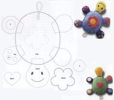 schildpadje van vilt Kijk voor vilt eens op http://www.bijviltenzo.nl....another great turtle template for making a stuffed felt toy!