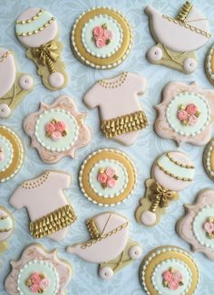 Rosa oro y blanco decoradas bebé ducha Cookies galletas de