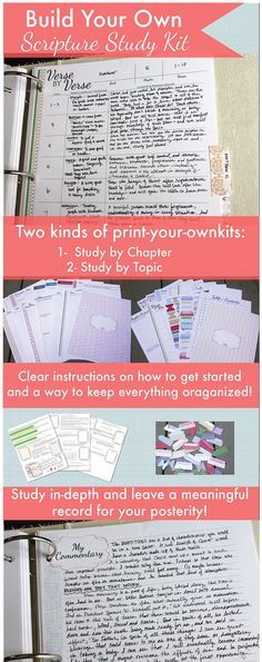 Build your own scripture study kit! There are two kind - study by chapter or study by topic! And you can just print them!