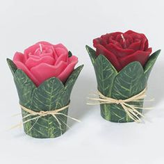 ROSE CANDLES  Set of 2 Valentine's Day Dept 56 Beautiful Accents NEW with holder