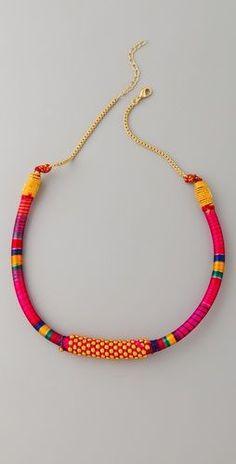 Nilgiri Necklace.  Dark pink, magenta, yellow, gold. Lobster clasp. Mixed thread/fabric detailing.