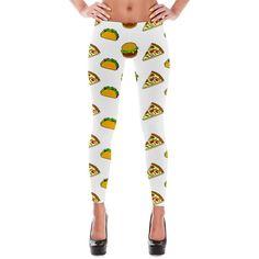 Pizza Taco Burger Cartoon Pattern Print Leggings ($45) ❤ liked on Polyvore featuring pants, leggings, stretchy leggings, white pants, patterned pants, stretch waist pants and print pants