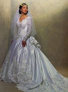 Classic cutwork lace bridal gown ad from the 1990s