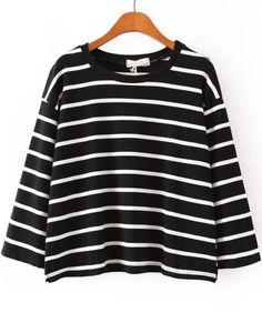 Black Long Sleeve Striped Crop T-Shirt, US$18.83 (Sale): http://rstyle.me/n/qzx8kr6gw  More via the Luscious Shop: www.myLusciousLife.com/shop