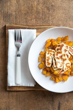 Rosemary & Garlic Butternut Squash with Halloumi | thecookandhim.com
