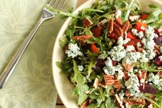 Arugula Salad with Roasted Beets, Blue Cheese, Mint & Pecans (I WANT)