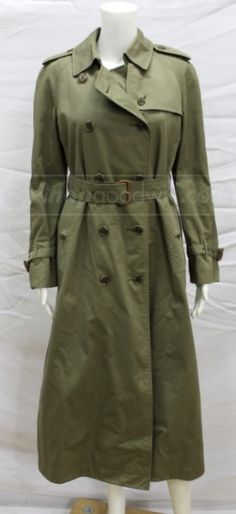 shopgoodwill.com: Burberry Womens Med. Olive Green Wool Trench Coat