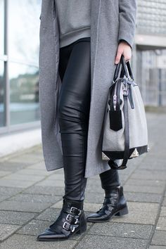 RED REIDING HOOD: Fashion blogger wearing leather pants outfit details supertrash buckle ankle boots long coat alexander wang bag