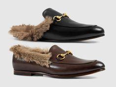 Gucci Princeton fur slippers and Jordan fur loafer