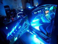 """BLUE 12"""" Car Interior NEON LIGHTS. Two (2) 12 inch (30cm) Cold Cathode BLUE Neon lights that fit inside your car foot well to light the floor. Can also be fitted under your seats. Comes complete with 12v fittings fuses terminals wire adhesive pads. EASY to fit with only 2 wires to connect and full fitting instructions supplied: Amazon.co.uk: Car & Motorbike"""