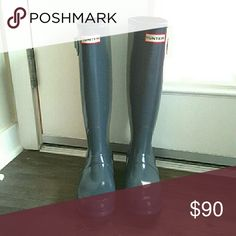 New Hunter Boots Tall Glossy Gray Brand New Hunter Boots Original tall Glossy Gray  New without box Various sizes Price Firm 1000% authentic!!! *The buckle is perfect..just didnt close for pic* I sold many of these last season.  No one can beat my price for authemtic NEW Hunters.  They just don't have the box. But you don't wear the box ;) Hunter Boots Shoes Winter & Rain Boots