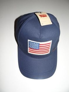 1cc787c3770 Levi s Men s USA Flag Logo Blue Hat Base Ball Cap NWT FREE Shipping