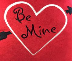 """BE MINE Pillow 13"""" Square Pillow VALENTINE Heart Arrow Red Plush Embroidered #unbranded"""