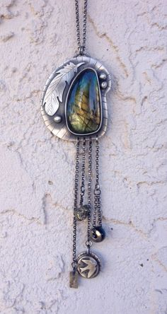 Labradorite Talisman Necklace. Feathers. Sparrow. Arrow. Sterling Silver by arrok