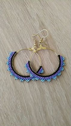 beaded earrings how to Seed Bead Jewelry, Bead Jewellery, Seed Bead Earrings, Diy Earrings, Bridal Earrings, Hoop Earrings, Beaded Rings, Beaded Necklace, Beaded Bracelets