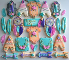 One Dozen Bohemian Themed Sugar Cookies - Sugar Cookies - Decorated Cookies