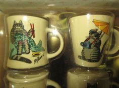 B. Kliban Cat Porcelain Mini Mug Set NIB Set by kookykitsch