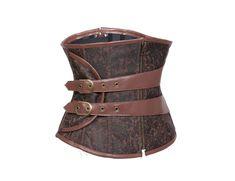 2015 New corset Brown Steampunk gothic Underbust Corset women sexy winter corsets Zipper Up Bodysuit