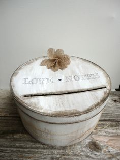 Rustic Card Box with Burlap Flower Check it out @ www.etys.com/shop/ThePaperWalrus