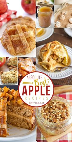 The absolute BEST APPLE RECIPES to make this fall.  From apple pie cookies and caramel apple layer cake to apple pie moonshine, apple fritters and more!!  Get all these favorite apple recipes and more at TidyMom.net