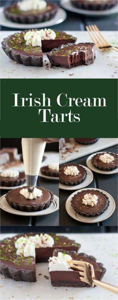 St Patrick's: IRISH CREAM TARTS For a more elegant St Patrick's Day dessert, or just a delicious anytime chocolate indulgence, these Irish Cream Tarts are a creamy, rich treat.