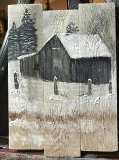 Barn painted on pallet wood. Barn painted on pallet wood. Barn painted on pallet wood. Barn painted on pallet wood. Painting On Pallet Wood, Tole Painting, Diy Painting, Rustic Painting, Wood Pallet Art, Acrylic Paint On Wood, Painted Boards, Painted Wood, Hand Painted
