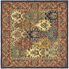 Safavieh Heritage Collection HG911A Handmade Multi and Burgundy Wool Square Area Rug, 6 feet Square (6′ Square)