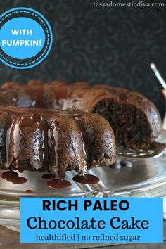 Rich and moist pumpkin chococlate cake is easy and delicious! Paleo Chocolate Cake, Chocolate Pumpkin Cake, Paleo Recipes, Real Food Recipes, Diet, Easy, Desserts, Tailgate Desserts, Deserts