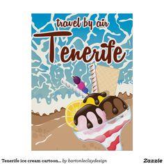 Tenerife ice cream cartoon travel poster