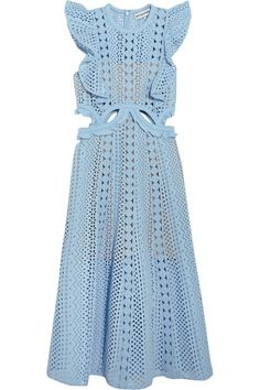 Self-Portrait - Cutout Guipure Lace And Broderie Anglaise Cotton Dress - Sky blue - UK4