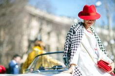 Need a Red Hat this Summer! #MFW #Fashiolista #Inspiration shot by http://www.thestyleograph.com/