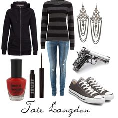 "@Jennifer Marx  I wouldn't be able to do the earrings, but this is a fantastic feminization of AHS's Tate Langdon.  ""Tate Langdon"" style board by character-inspired-style on Polyvore"