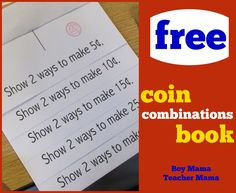 Teacher Mama: FREE Coin Combinations Book