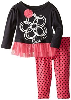 Kidtopia Baby Girls Long Sleeve 2 Piece Mesh Peplum Tunic Set with Ribbon Rosettes Flower Sweet Anthracite 24 Months *** You can get additional details at the image link. (This is an affiliate link) #BabyGirlClothingSets
