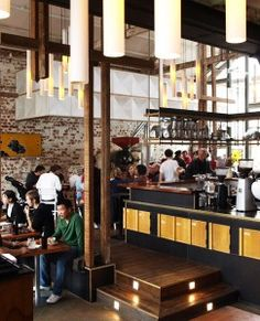 Could we include wood or steel pillars somewhere in build to add sense of height and variety of materials? inside The Auction Rooms Cafe Victoria Australia, Good And Cheap, Melbourne Australia, Wine Country, My Dream, Beautiful Places, Auction, Around The Worlds, Rooms