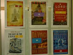 Posters of books featured in the Missing Book Title display