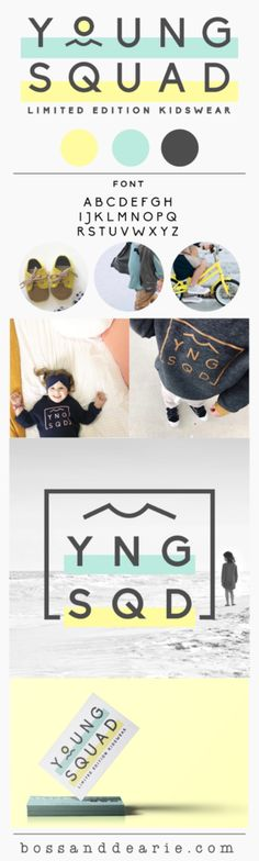 Minimalist Logo design by Boss and Dearie, Kids clothing brand, Gold Coast Kids, Young Squad