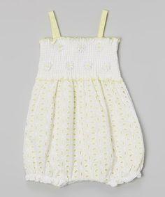 Yellow & White Eyelet Bubble Romper - Infant