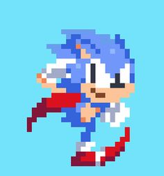 pixel art Sonic the Hedgehog run animation by crappycrappyblueblue on Tumblr.
